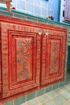 Décor peint sur portes couleur récif coralien