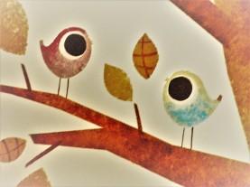 """Détail décor peint enfant """"arbre aux oiseux"""" acrylique."""