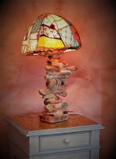 Lampe de chevet - Bois flotté et feutrine - 2009