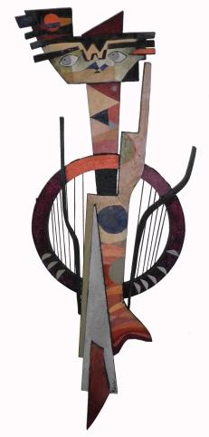 Assemblage de bois et technique mixte - 120*45 cm