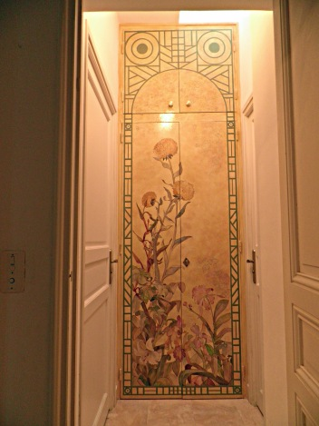 """Décor peint sur portes""""Jardin botanique et pergola"""""""