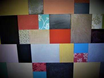 Patchworks d'essais matières. Collages et acrylique.