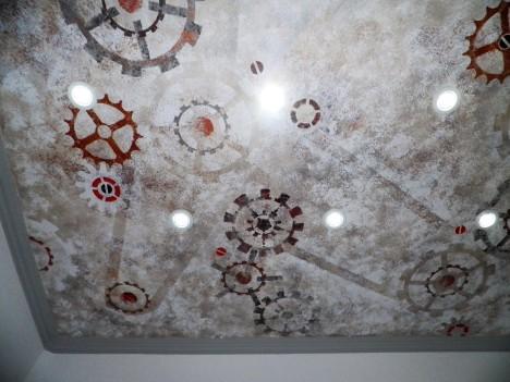 """Décor peint plafond """"engrenages"""""""